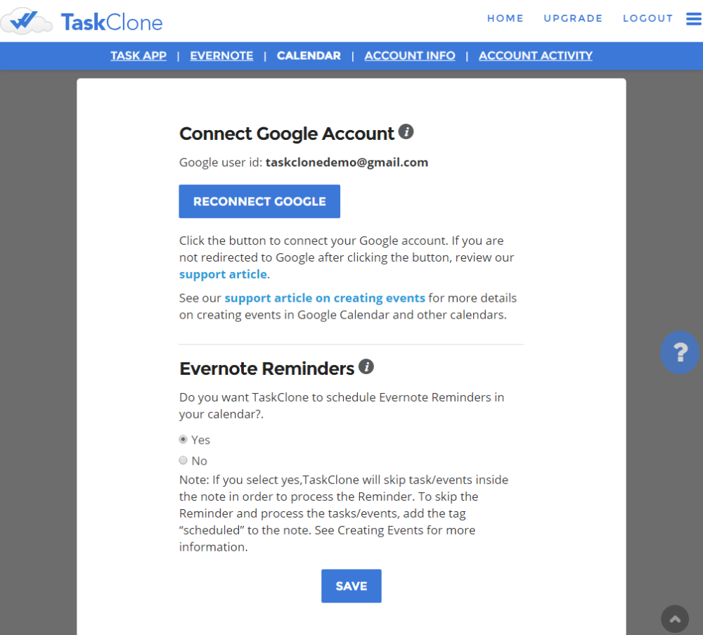 connect google calendar and others support taskclone
