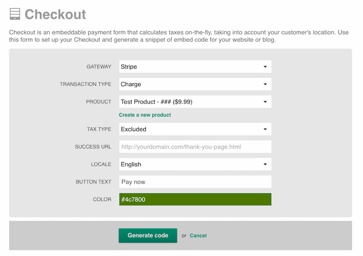 Creating a Checkout form - Quaderno Support