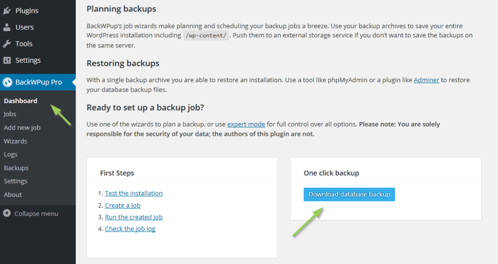 Create a Wordpress database backup