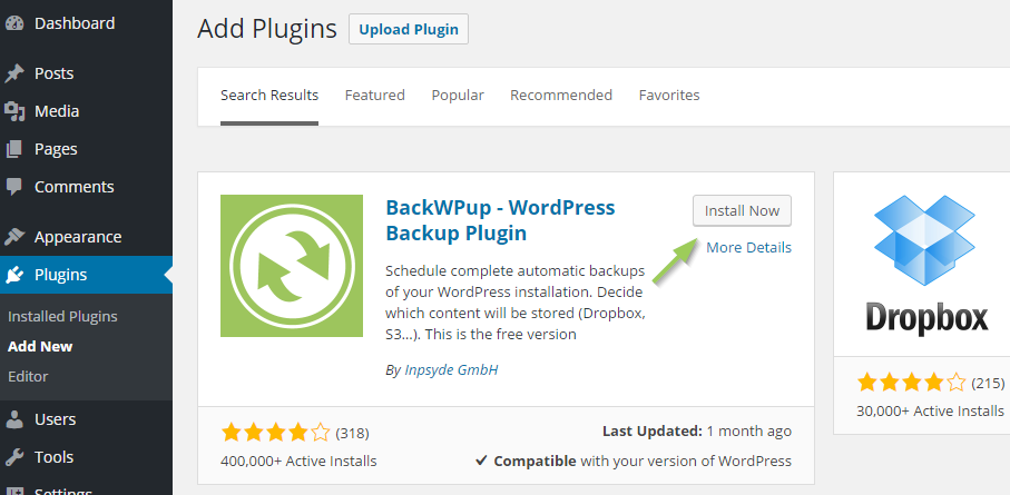 Install BackWPup Free - Search BackWPup Free in the admin area