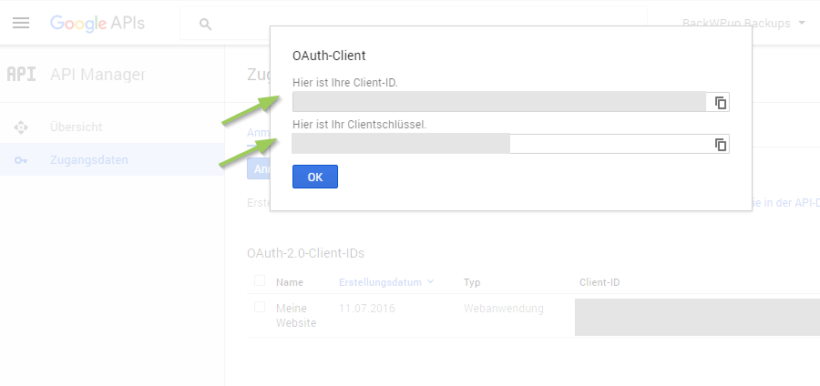 BackWPup Backup nach Google Drive - Google Client ID