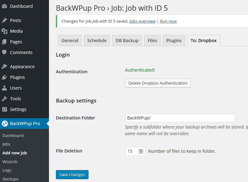 BackWPup - Dropbox authenticated successfully