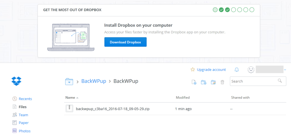 BackWPup - WordPress backup is now saved in your dropbox
