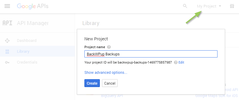 Backup WordPress to Google Drive - New Google API Project