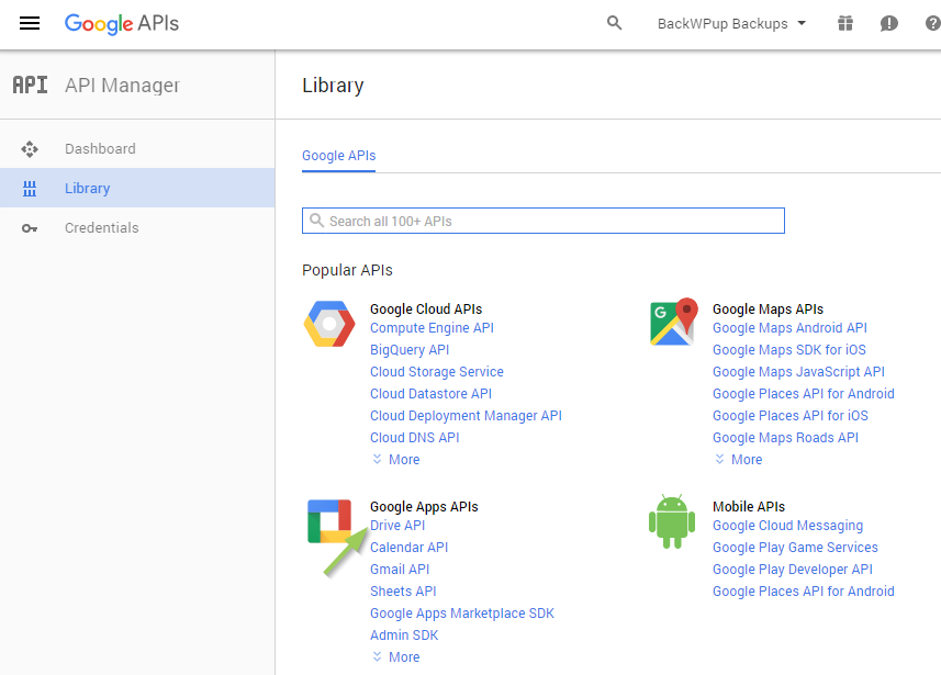 Backup WordPress to Google Drive - Activate Google Drive API