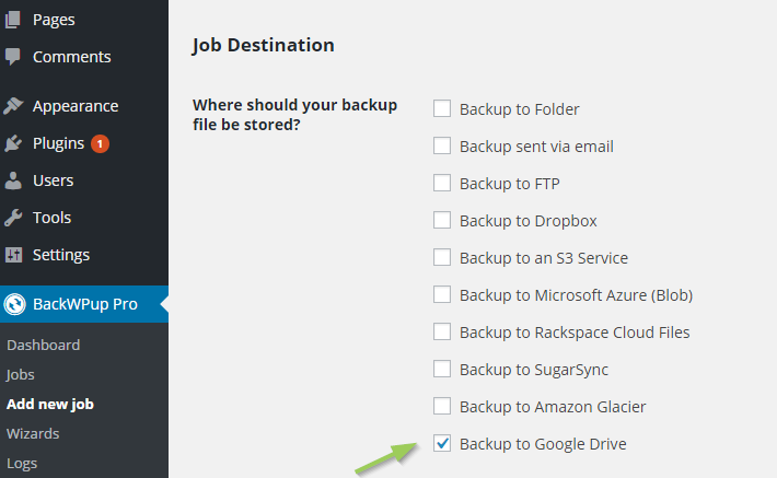 Backup WordPress to Google Drive - Job Destination Google Drive