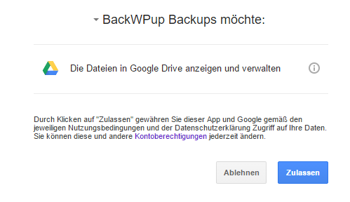 BackWPup backup to Google Drive - allow access to Google Drive