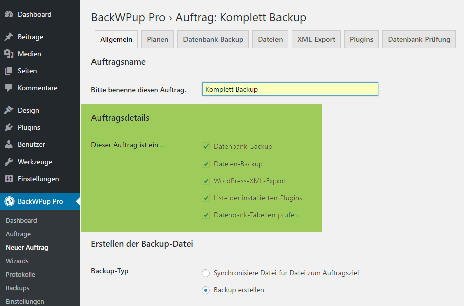 WordPress Komplett Backup mit BackWPup
