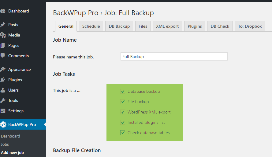 BackWPup full backup - select to backup everything