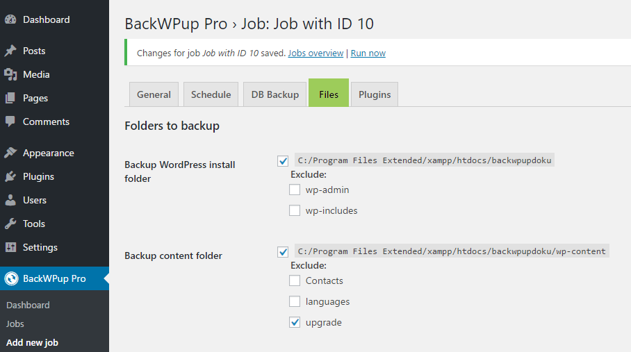 BackWPup exclude files from WordPress backup