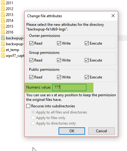 BackWPup Error - Set file permissions