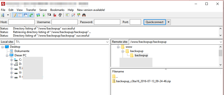 BackWPup - Create folder on ftp