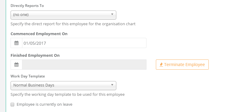 Termination Screen in HR Partner