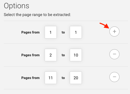 Specifying pages to be extracted