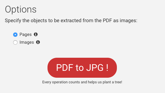 Selection of extraction type for PDF to JPG
