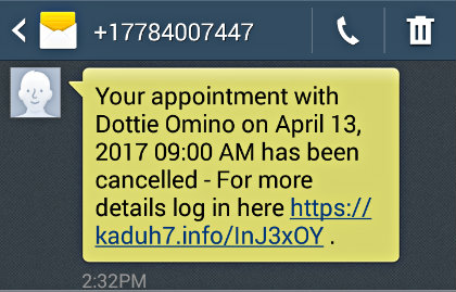 Amidship appointment cancellation text