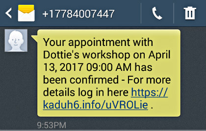 Amidship appointment confirmation text