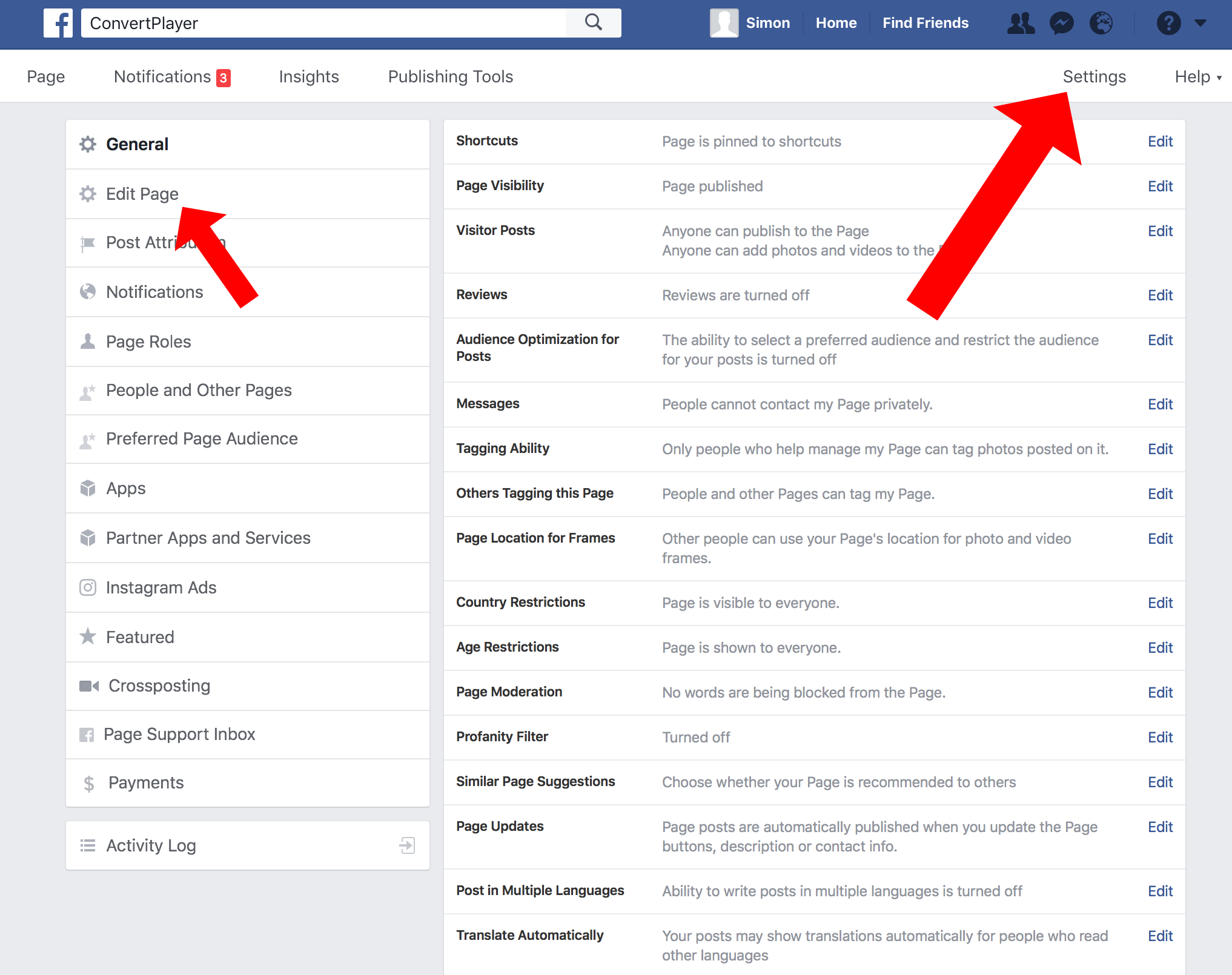 Go To Your Facebook Page Settings On Facebook And Then Click On Edit Page