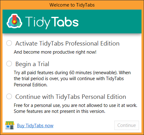 TidyTabs welcome screen