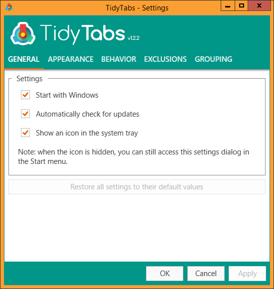 The TidyTabs settings dialog