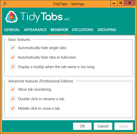 TidyTabs - Settings - Behavior