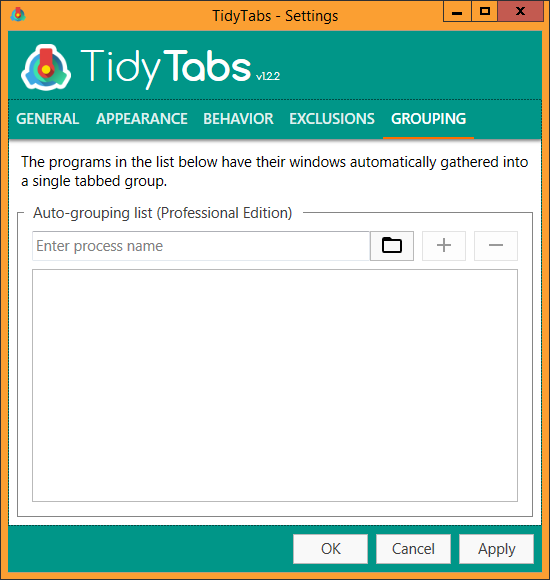 TidyTabs - Settings - Grouping