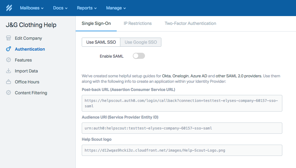 Enabling SSO with Okta as the Identity Provider - Help Scout Support