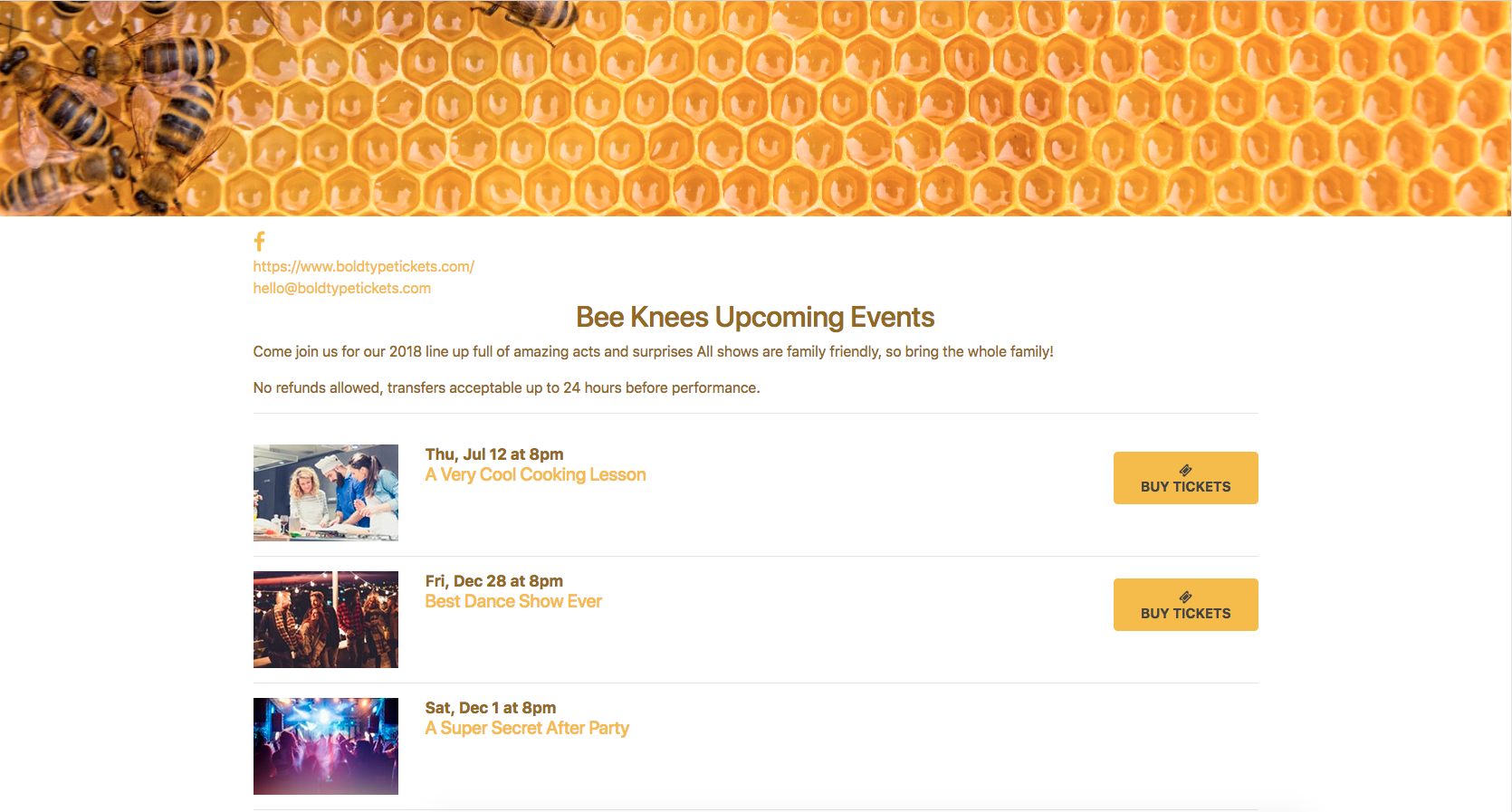 How do I create a page to show several events at once? - Bold Type