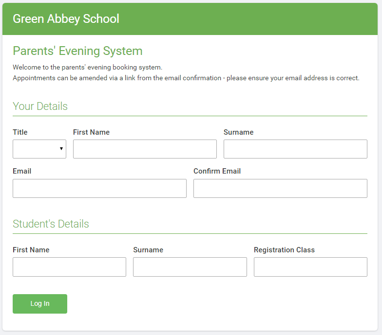 Configuring how parents login to the system - Parents Evening System