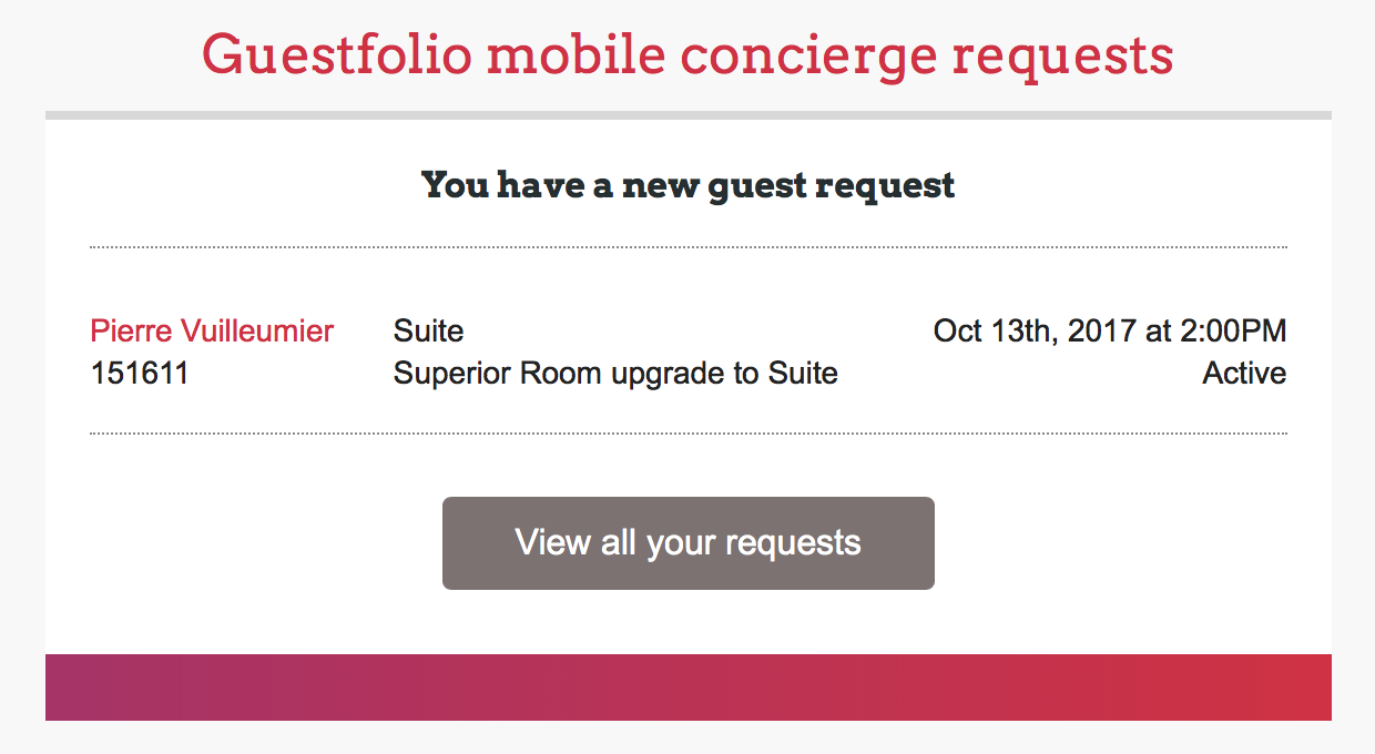 Mobile Concierge Request Immediate