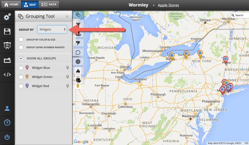 How To Use The Grouping Tool Maptive Answer Center - Make a trip map