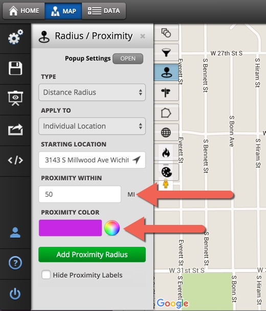 How to Use The Distance Radius Tool - Maptive Answer Center Distance Radius Map on street maps, county maps, population density maps, city maps, state maps,