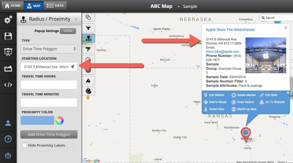 How to Use The Drive Time Polygon Tool - Maptive Answer Center Drive Time Radius Map on