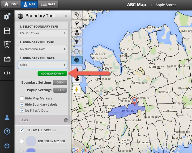 How To Use The Boundary Tool - Maptive Answer Center Zip Code Mapping Tool on
