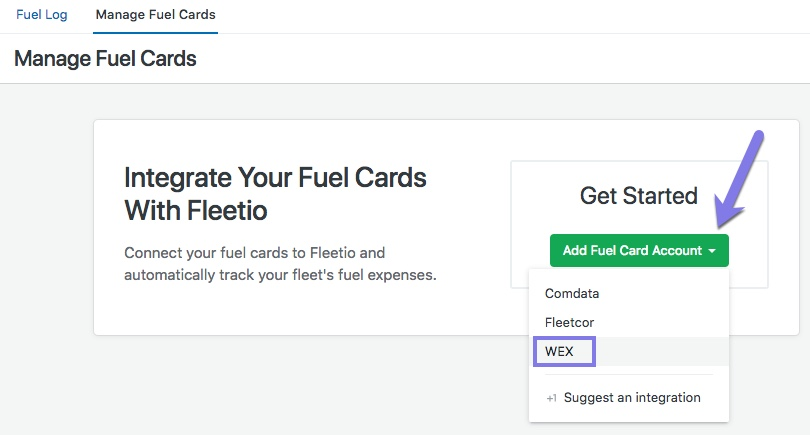 enter your wex account number and click continue - Wex Fleet Card