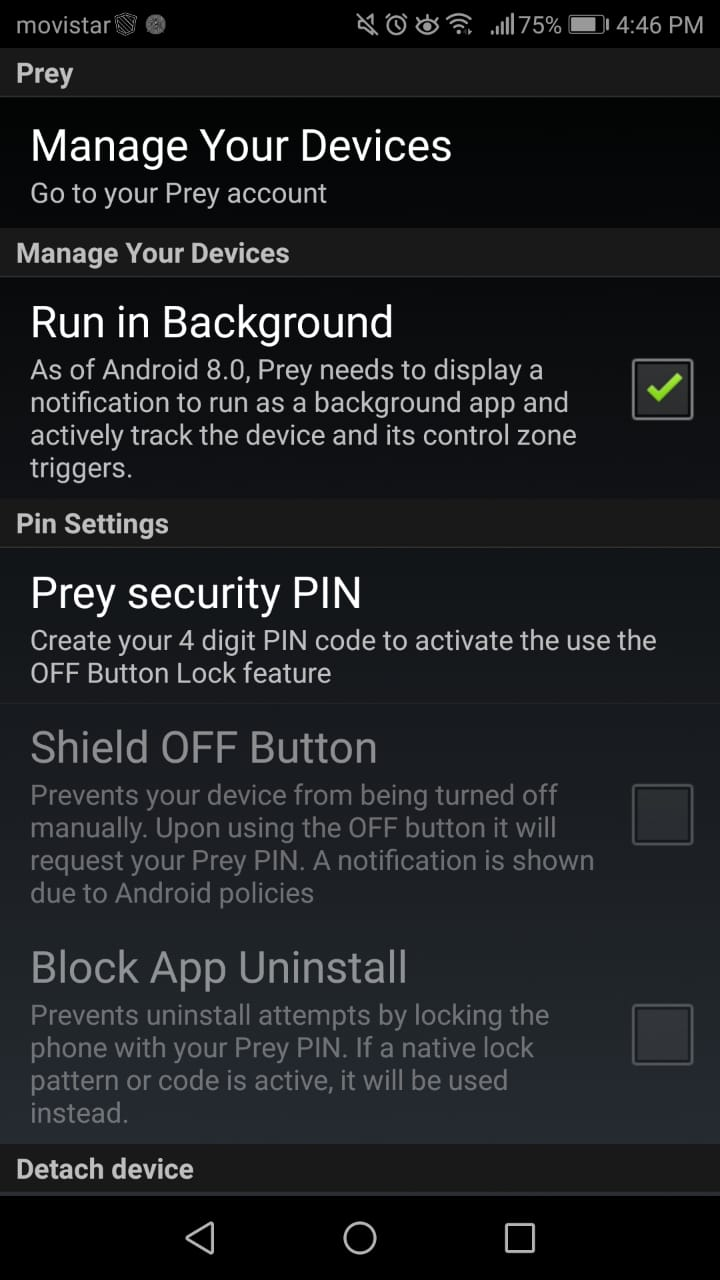 Recommended Settings for mobile devices with Prey - Prey