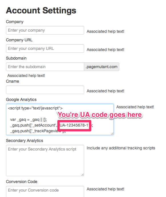 Adding Tracking Script to Account Settings