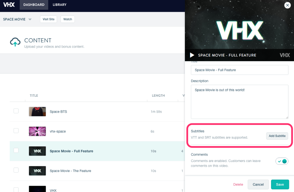 How do I add subtitles to my videos? - Vimeo OTT Seller Support