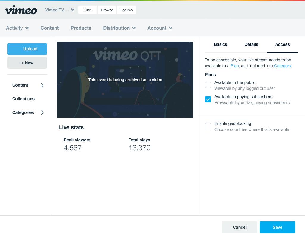 Vimeo OTT Live - Vimeo OTT Seller Support