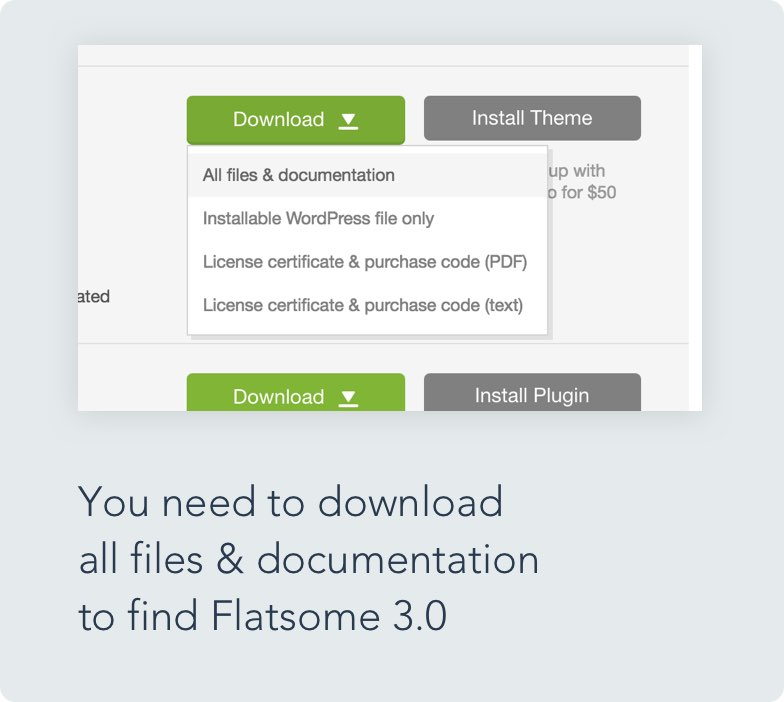 Flatsome 3.0 zip file can only be found inside the 'All files and documentation' zip file.