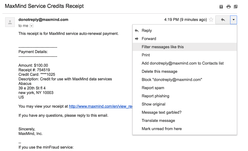 how to automatically import email receipts abacus