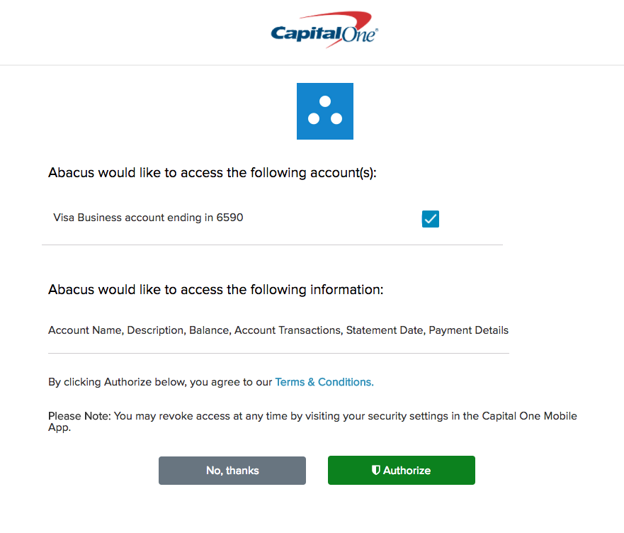 Abacus + Capital One Corporate Card Integration - Abacus