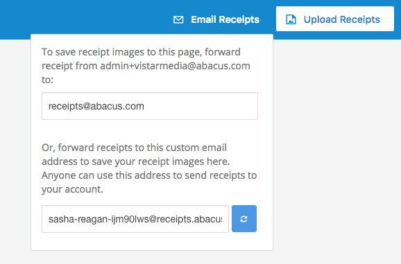 forwarding email receipts abacus