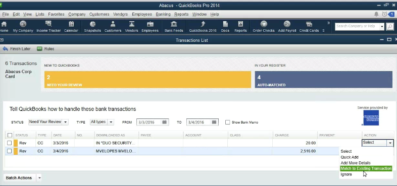 How does the Abacus & QuickBooks Desktop integration work