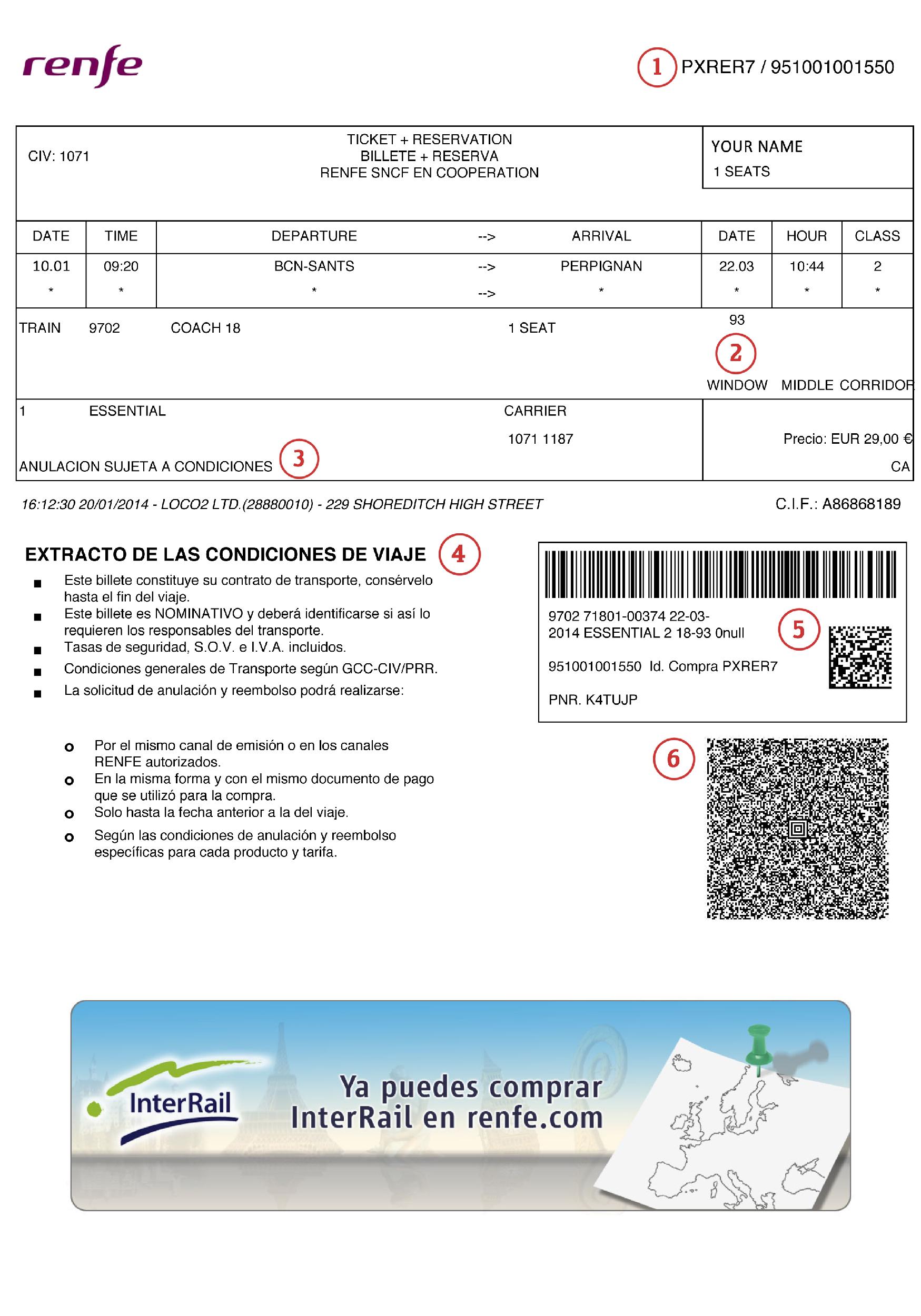 Understanding your Spanish train ticket - Loco2 Help