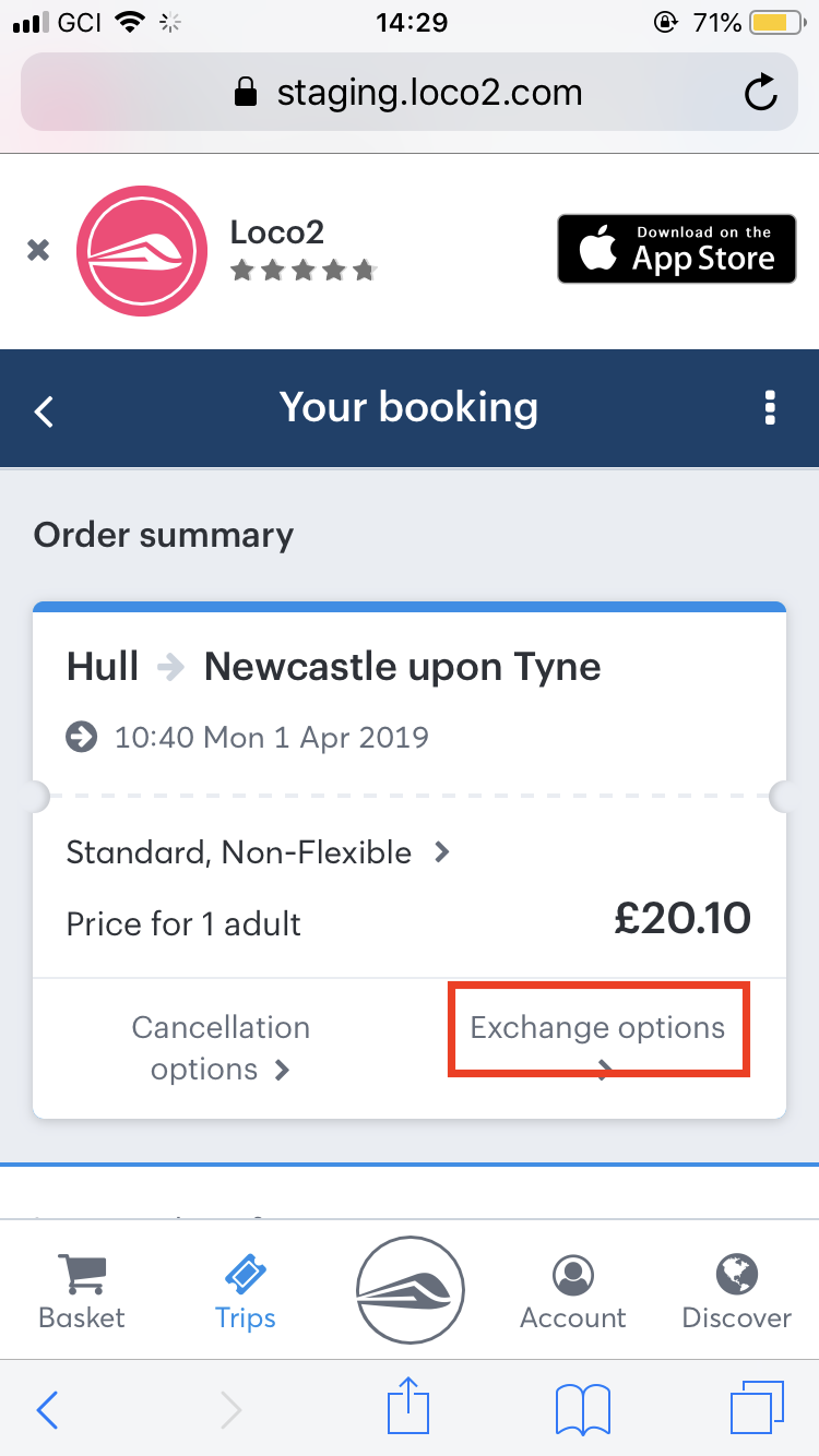 The exchange options button on the Loco2 App