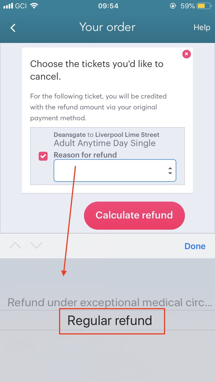 Image of refund options for UK tickets on the Loco2 app