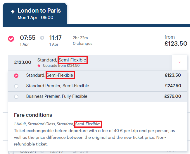 Screenshot of fare conditions in the search results