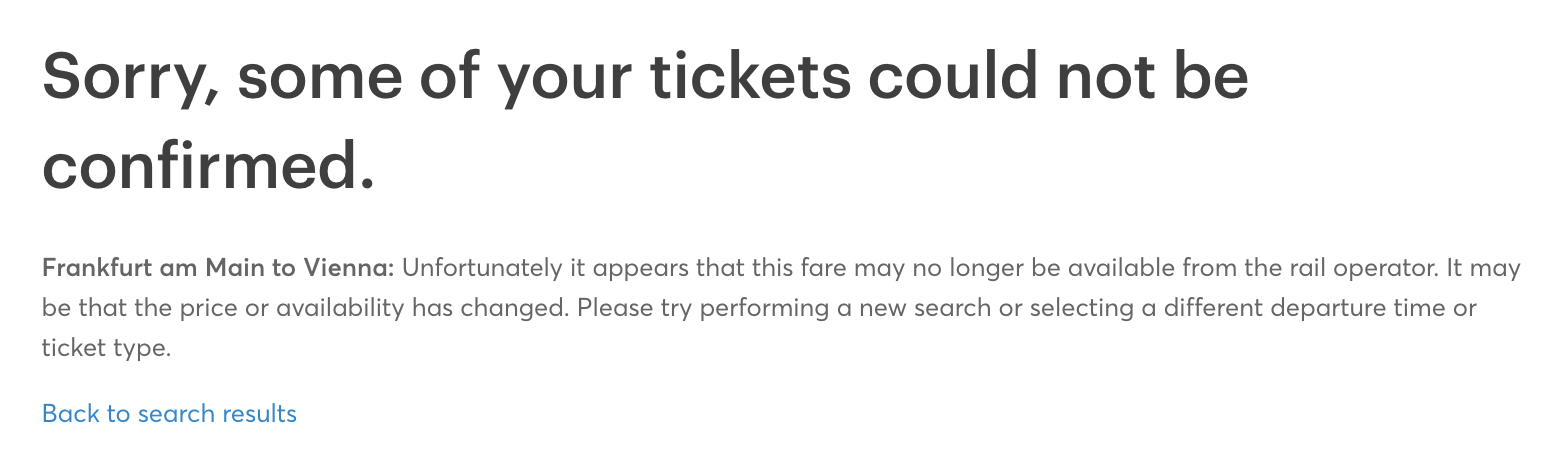 Sorry, some of your tickets could not be confirmed.