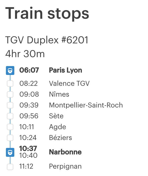 Itinerary showing intermediate stops